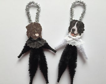 NEWFOUNDLAND DOG ornaments dog ORNAMENTS Newfie ornaments vintage style chenille ornaments set of 2