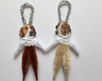 FOXHOUND ornaments dog ORNAMENTS vintage style chenille ornaments set of 2