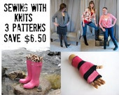 Sewing with knits 3 pattern pack special Infinigan sweater, fingerless mitts, and bootsocks Save 6.50