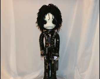 Hand Stitched Edward Scissorhands Inspired Rag Doll Creepy Gothic Folk Art By Jodi Cain Tattered Rags