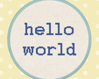 Hello World - Text Simple Modern Counted Cross Stitch Pattern PDF Instant Download