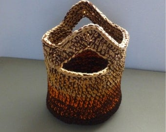 Catch All Basket Bag with Handles Shades Brown Tan Orange