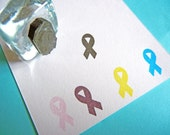 Tiny Awareness Ribbon Rubber Stamp  - Handmade by BlossomStamps