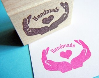 Handmade Love Packaging Rubber Stamp - Handmade by BlossomStamps