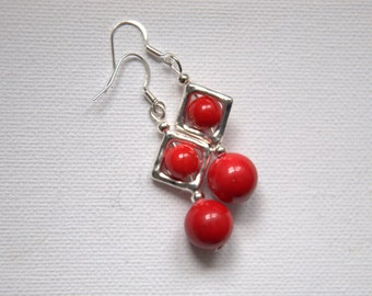 Red coral dangle drop earrings Valentine gift for her Gemstone earrings silver plated square Round Beads beaded earrings jewelry jewellery