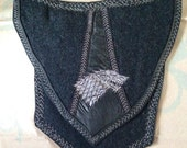 "Banner Bag - ""Winter Is Coming"" Embroidered Leather And Wool Purse"
