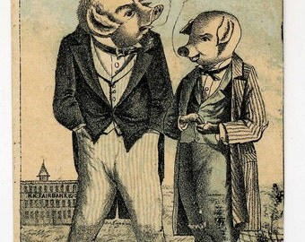 Victorian Trade Cad - Two Male Dressed Pigs - Lard Advertising - Late 1800's
