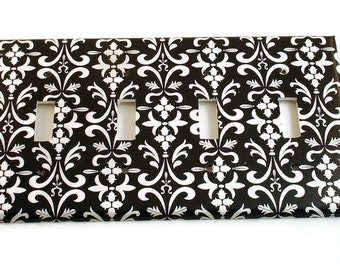Quad Light Switchplate Cover Wall Decor Switchplate Switch Plate in  Black Damask  ( 179Q)
