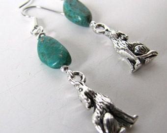 Howling Wolf Earrings, Dangle Earrings, Turquoise Earrings, Long Dangles, Surgical Steel Ear Wires Item1131