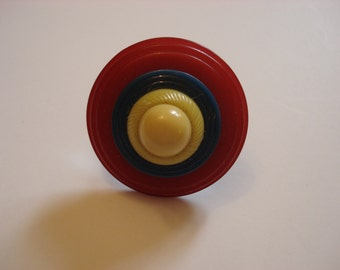 Stacked Statement Button Ring - Yellow/Blue/Red Vintage Buttons - Adjustable