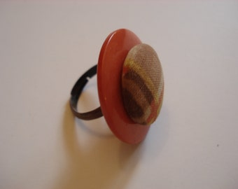 Stacked Button Ring - Vintage Buttons - Orange Plaid Fabric Button Center - Adjustable