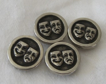 Set of 4 VINTAGE Silver Metalized Plastic Opera Theater Mask BUTTONS