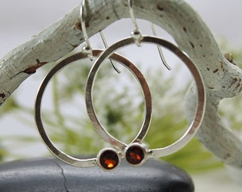 Garnet Hoop Earrings Sterling Silver Hoops Red Gemstone Earrings January Birthstone