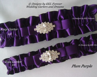 Rhinestone Marquee Wedding Garters Handmade plum purple Garters