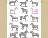 Printable Gray and Pink Horses 8 x 10 Farm Animal Barnyard Baby Girl Nursery Art Animal Print Horse of a Different Color Equestrian Book Art