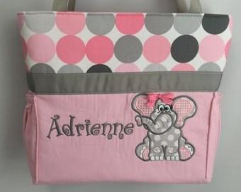 Ellie the ELEPHANT  .. DIAPER Bag .. Applique  ... Bottle Pockets ... Personalized Free