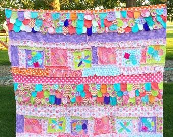 Flower Applique Twin Size Rag Quilt - Cottage Chic Bedding - Dorm Quilt Bedding - Girl Bedding Twin - Pink, Turquoise, Purple, Orange Green
