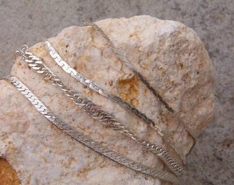 Bracelets, Vintage Set of 4 Sterling Silver Bracelets