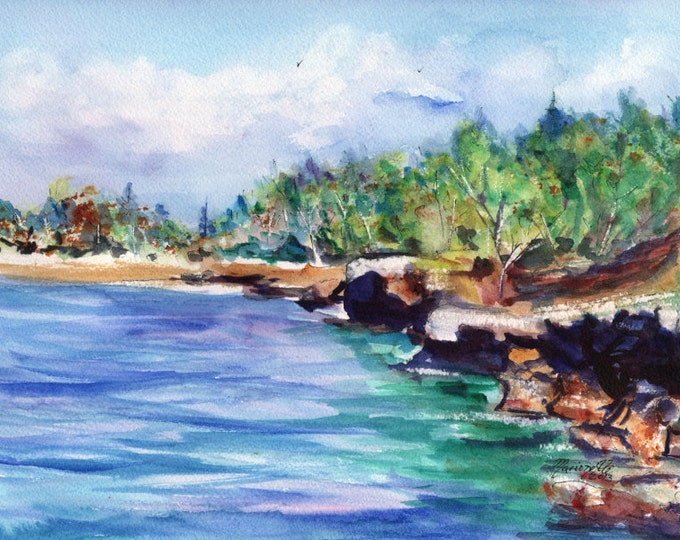 kauai seascapes, mahaulepu beach,  5x7 art prints,  kauai art, ocean paintings, tropical seascapes, kauai watercolors, south shore of kauai