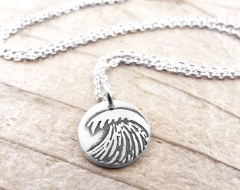 Tiny wave necklace, ocean necklace, silver wave jewelry, ocean wave, surfer necklace, surfer jewelry
