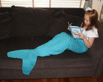 Mermaid Tail Lapghan Blanket Knitting Pattern for Children -- PDF 415 -- INSTANT DOWNLOAD -- Circular and Back-and-Forth Options Included
