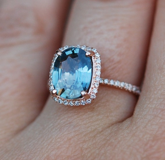 reserved modified Blue Green sapphire engagement by EidelPrecious