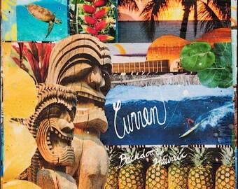 ORIGINAL, Curren Cursive Backdoor HI, Oil and Encaustic Collage, One of a Kind, 12x12, artwork, wood panel, Collector's item, Ocean, Art