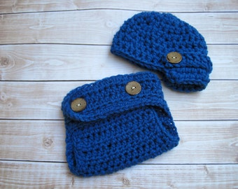 Crochet Baby Hat, Baby Newsboy Hat, Newborn Hat, Diaper Cover Set, Newborn Beanie, Newborn Boy Hat, Infant Boy Hat, Blue Crochet Baby Beanie