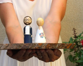 Wedding Cake Toppers Personalized Peg Dolls Custom Wedding Cake Personalized Custom Wedding Gift // Goose Grease // wooden dolls