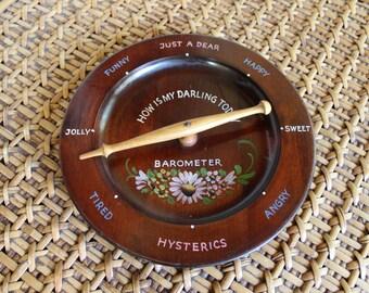 VINTAGE wood Danish Kitschy Wife Mood Barometer. Anniversary gift, menopause measurer