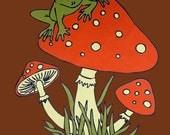 Frog Mushroom Retro  70's T Shirt - L XL