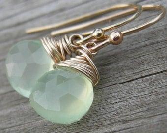 Soft Green Chalcedony Gold Fill Earrings