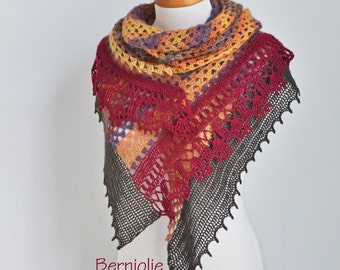 Lace crochet shawl, stole, Brown, Red, mustard, N351
