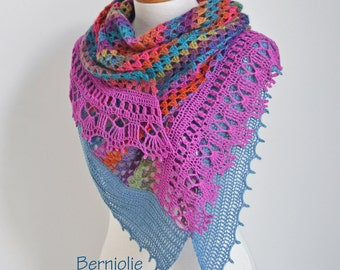Lace crochet shawl, stole, Pink, blue, orange, N352