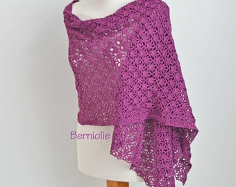Lace crochet shawl, Violet, Purple, Cotton,  N361