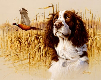"ENGLISH SPRINGER SPANIEL (Liver & White) with Pheasant on One 16 inch Fabric Panel to Sew. Actual picture is 8"" x 11""on white background."