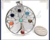 1 Silver Celtic Chakra Tree Pendant, Silver Tree Charm, Round Tree Pendant, 49mm Silver Tree Pendant, PS247