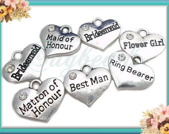 8 Antiqued Silver Wedding Charm Set with Crystal - Best Man, Flower Girl, Bridesmaid, Wedding Charms  16mm PS156