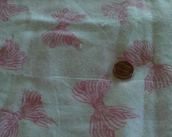Vintage Cotton Fabric  Medium Pink Bows On Micro Dot Lt. Pink