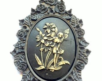 Sugar Skull Black Garden Fairy Necklace Cameo Framed Pendant and Black Cord