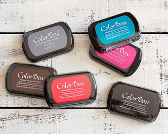 ColorBox Archival Dye Ink Pads Stamp Pads - Non Toxixc Acid Free - Black Grey Red Pink Aqua Brown - Standard Size