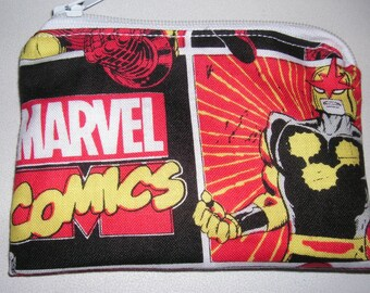 Marvel Nova comic handmade fabric coin change purse zipper pouch