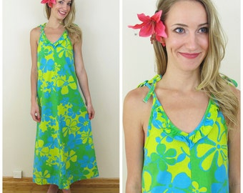 70s Sears Hawaiian Fashions Green and Turquoise Floral Maxi Dress, Size Teen or XS