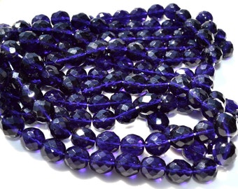 Deep Tanzanite Purple 10mm Faceted Fire Polish ROund Beads  25