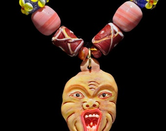 Balinese Protection Mask & Colorful Beads