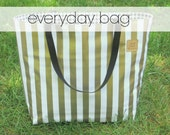 everyday bag // oilcloth tote carryall purse lined / floral chevron gold black white dot stripe