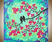 "Original birds art Acrylic painting hand paint wall art  wedding anniversary gift canvas art ""Love Is a Beautiful Thing"" by qiqigallery"