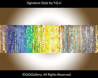 """Painting 60"""" large Abstract Painting hand paint on canvas Wall art wall decor home office wall decor """"September Shower"""" by qiqigallery"""