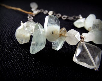 Contemporary Native OOAK Jewelry // Quartz Aquamarine Silver Bracelet // Liquid Diamonds // Organic Chaos