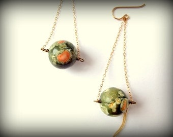 Ariel View Jasper Sphere Gold Swing Earrings
